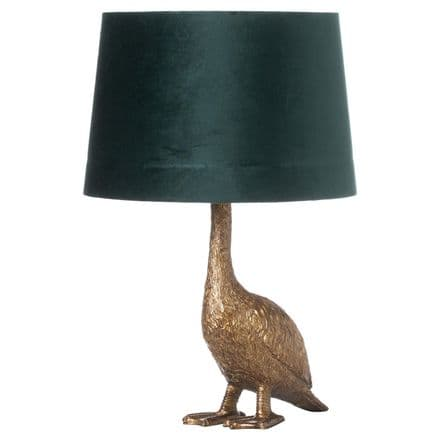 Gary the Goose Gold Table Lamp With Teal Velvet Shade